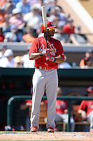 St. Louis Cardinals first baseman Xavier Scruggs (83) during a spring training game against the Detroit Tigers on March 3, 2014 at Joker Marchant Stadium in Lakeland, Florida.  Detroit defeated St. Louis 8-5.  (Mike Janes/Four Seam Images)