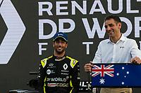 11th March 2020; Melbourne Grand Prix Circuit, Melbourne, Victoria, Australia; Formula One, Australian Grand Prix, Arrival Day; Renault driver Daniel Ricciardo and team principal Cyril Abiteboul at the Renault car launch