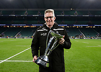 16th November 2019; Twickenham, London, England; International Rugby, Barbarians v Fiji; Fiji Head Coach John McKee posing with the Killik Cup after his players defeated the Barbarians 33-31 - Editorial Use