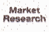"""Overhead view of people forming words """"market research"""""""