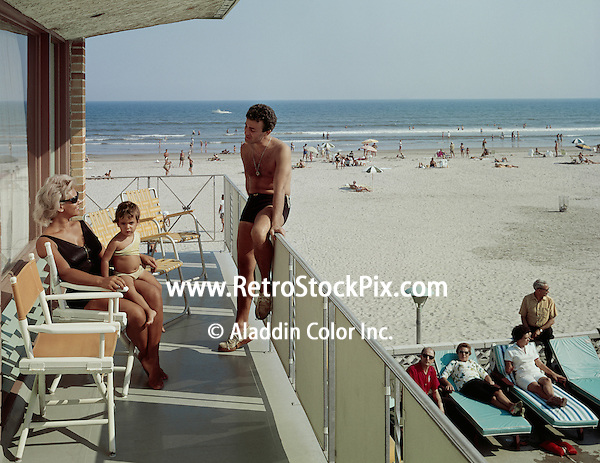 Crown Motel, Wildwood, NJ. 1960's Family on the Motel Balcony that overlooks the Beach.