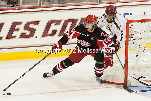 Tyler Carroll (UNB - 26), Patrick Wey (BC - 6) - The Boston College Eagles defeated the visiting University of New Brunswick Varsity Reds 6-0 in their home (exhibition) opener on Saturday, October 6, 2012, at Kelley Rink in Conte Forum in Chestnut Hill, Massachusetts.