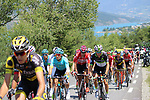 The 50+ breakaway group start to climb Cote de Demoiselles Coiffees at Lac de Serre-Poncon during Stage 18 of the 104th edition of the Tour de France 2017, running 179.5km from Briancon to the summit of Col d'Izoard, France. 20th July 2017.<br /> Picture: Andy Brady | Cyclefile<br /> <br /> All photos usage must carry mandatory copyright credit (&copy; Cyclefile | Andy Brady)