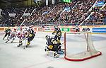 Stockholm 2014-09-11 Ishockey Hockeyallsvenskan AIK - S&ouml;dert&auml;lje SK :  <br /> S&ouml;dert&auml;ljes David Lidstr&ouml;m kvitterar till 2-2 bakom AIK:s m&aring;lvakt Alexander Hamberg i slutet av ordinarie matchtid<br /> (Foto: Kenta J&ouml;nsson) Nyckelord:  AIK Gnaget Hockeyallsvenskan Allsvenskan Hovet Johanneshovs Isstadion S&ouml;dert&auml;lje SK SSK jubel gl&auml;dje lycka glad happy