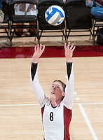 STANFORD, CA - September 2, 2010: Cassidy Lichtman during a volleyball match against UC Irvine in Stanford, California. Stanford won 3-0.
