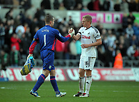 Pictured: Garry Monk of Swansea (R) and Shay Given goalkeeper for Aston Villa (L) greet each other after the game. Sunday 27 November 2011<br /> Re: Premier League football Swansea City FC v Aston Villa at the Liberty Stadium, south Wales.