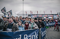 Quite a crowd (for a working day friday) at the pre race team presentation.<br /> <br /> 61th E3 Harelbeke 2018 (1.UWT)<br /> 1day race: Harelbeke &rsaquo; Harelbeke - BEL (206km)