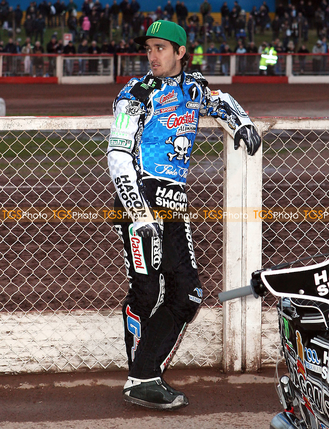 Chris Holder of Poole Pirates - Lakeside Hammers v Poole Pirates, Elite League Speedway at the Arena Essex Raceway, Pufleet - 04/05/12 - MANDATORY CREDIT: Rob Newell/TGSPHOTO - Self billing applies where appropriate - 0845 094 6026 - contact@tgsphoto.co.uk - NO UNPAID USE..