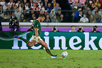 1st November 2019, Yokohama, Japan;  Handre Pollard of South Africa takes a conversion during the 2019 Rugby World Cup final match between England and South Africa at International Stadium Yokohama in Kanagawa, Japan on November 2, 2019.