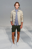 Model poses in an outfit from the Daniel Hecther Spring Summer 2018 collection by Christophe Bodin-Pechabrier, for New York Mens Day at Dune Studios on July 10, 2017; duing New York Fashion Week: Mens Spring Summer 2018.
