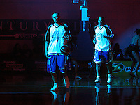 Lindsay Tait and Troy McLean take to the court before the match during game two of the NBL Final basketball match between the Wellington Saints and Waikato Pistons at TSB Bank Arena, Wellington, New Zealand on Friday 20 June 2008. Photo: Dave Lintott / lintottphoto.co.nz