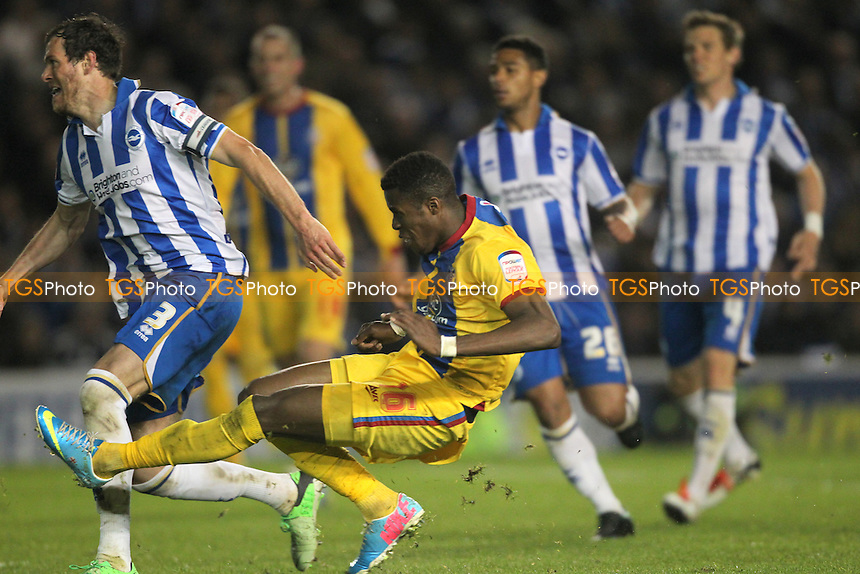 Wilfried Zaha of Crystal Palace scores Crystal Palaces 2nd - Brighton & Hove Albion vs Crystal Palace - NPower Championship Play-Off Semi-Final 1st Leg at the Amex Stadium - 13/05/13 - MANDATORY CREDIT: Simon Roe/TGSPHOTO - Self billing applies where appropriate - 0845 094 6026 - contact@tgsphoto.co.uk - NO UNPAID USE