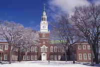 university, Dartmouth College, New Hampshire, NH, Baker Library on the campus of Dartmouth College in Hanover in the snow in winter.