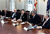 United States President Ronald Reagan participates in a meeting with Chief Executive Officers (CEO) in the Cabinet Room on Thursday, February 25, 1988.  Attending the meeting, from left, were: P. Roy Vagelos of Merck & Co., Inc.; John Gutfreund of Salomon Brothers; President Reagan; Robert H. Malott of FMC Corporation; and Colby H. Chandler of Eastman Kodak Company, Inc. .Mandatory Credit: Bill Fitz-Patrick - White House via CNP