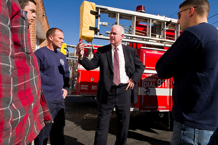 WASHINGTON, DC - Nov 01: 7th congressional district Republican candidate Pat Meehan with Danny Assal, John Leonard, Chief Brian Ganley and Ryan Ward at the Briarcliffe Fire Company in Glenolden. (Photo by Scott J. Ferrell/Congressional Quarterly)