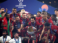 Liverpopol's Mohamed Salah holds up the trophy at the end of the UEFA Champions League final football match between Tottenham Hotspur and Liverpool at Madrid's Wanda Metropolitano Stadium, Spain, June 1, 2019. Liverpool won 2-0.<br /> UPDATE IMAGES PRESS/Isabella Bonotto