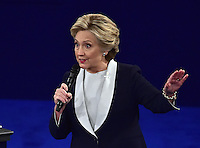 Former United States Secretary of State Hillary Clinton, the Democratic Party nominee for President of the US, appears in the second of three presidential general election debates with businessman Donald J. Trump, the Republican Party candidate for President of the US, at Washington University in St. Louis, Missouri on Sunday, October 9, 2016.<br />