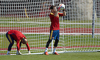 EURO 2012 - POLAND - Gniewino - 13 JUNE 2012 - Spain National Team official MD-1 training. First spanish goalkeeper Iker Casillas and second spanish goalkeeper Pepe Reina.