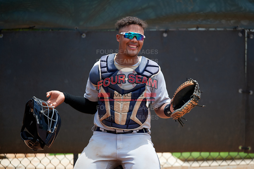GCL Tigers West catcher Pedro Hurtado (7) in the bullpen during a Gulf Coast League game against the GCL Phillies West on July 27, 2019 at the Carpenter Complex in Clearwater, Florida.  (Mike Janes/Four Seam Images)