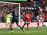Blackburn Rovers' Tommie Hoban scores the only goal of the match heading down past Nottingham Forest's goalkeeper Jordan Smith<br /> <br /> Photographer Stephen White/CameraSport<br /> <br /> The EFL Sky Bet Championship - Nottingham Forest v Blackburn Rovers - Friday 14th April 2016 - The City Ground - Nottingham<br /> <br /> World Copyright &copy; 2017 CameraSport. All rights reserved. 43 Linden Ave. Countesthorpe. Leicester. England. LE8 5PG - Tel: +44 (0) 116 277 4147 - admin@camerasport.com - www.camerasport.com