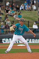 University of Coastal Carolina Chanticleers pitcher Chris Davidson (21) during a game against the University of Virginia Cavaliers at Springs Brooks Stadium on February 21, 2016 in Conway, South Carolina. Coastal Carolina defeated Virginia 5-4. (Robert Gurganus/Four Seam Images)