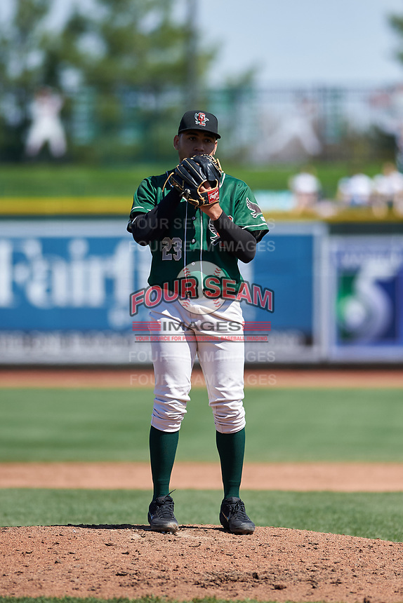 Great Lakes Loons relief pitcher Jose Martinez (23) during a Midwest League game against the Wisconsin Timber Rattlers at Dow Diamond on May 4, 2019 in Midland, Michigan. Great Lakes defeated Wisconsin 5-1. (Zachary Lucy/Four Seam Images)