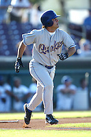 Javy Rodriguez of the Rancho Cucamonga Quakes runs to first base during a game against the Inland Empire 66ers at Stater Bros Stadium on August 3, 2003 in San Bernardino, California. (Larry Goren/Four Seam Images)