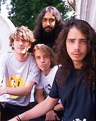 Soundgarden portraits (B-F:  Kim Thayil, Ben Shepherd, Matt Cameron, Chris Cornell) - photographed in Hyde Park London - August 1991.  Photo by: Tony Mott / IconicPix