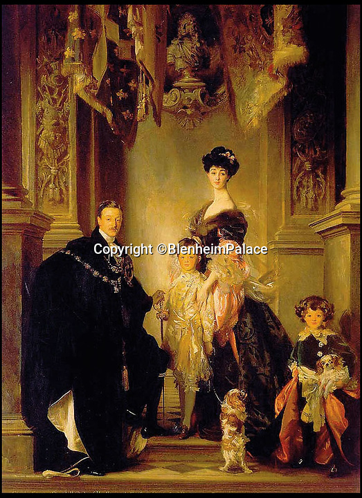 BNPS.co.uk (01202 558833)<br /> Pic: BlenheimPalace/BNPS<br /> <br /> John Singer Sargent's portrait of the 9th Duke of Marlborough with first wife the American railroad heiress Consuelo Vanderbilt and their family.<br /> <br /> All that Glisters....Is Gold! <br /> <br /> This spectacular restoration of the Mermaid Fountain at Blenheim Palace uses 8750 leaves of real gold to bring back its stunning golden hue.<br /> <br /> The ornate gilded bronze fountain has been returned to its original glory more than a century after its original installation.<br /> <br /> The Mermaid Fountain is the centrepiece of the formal Italian Garden at Blenheim Palace.<br /> <br /> Sculpted by renowned British/American artist Thomas Waldo Story it was installed at the Oxfordshire World Heritage Site by the 9th Duke of Marlborough in 1912.<br /> <br /> However over the decades the fountain became covered with a thick layer of limescale and algae and restorers used 350 books of almost pure 23 ¾ carat triple layer Old English gold to bring it back to life.<br /> <br /> The work is part of a £40 million rolling programme of conservation being carried out at the UNESCO World Heritage Site which was the birthplace of Winston Churchill.