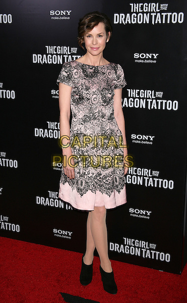 "Embeth Davidtz.""The Girl With The Dragon Tattoo"" New York Premiere, New York City, NY, USA..December 14th, 2011.full length pink black lace dress.CAP/LNC/TOM.©TOM/LNC/Capital Pictures."
