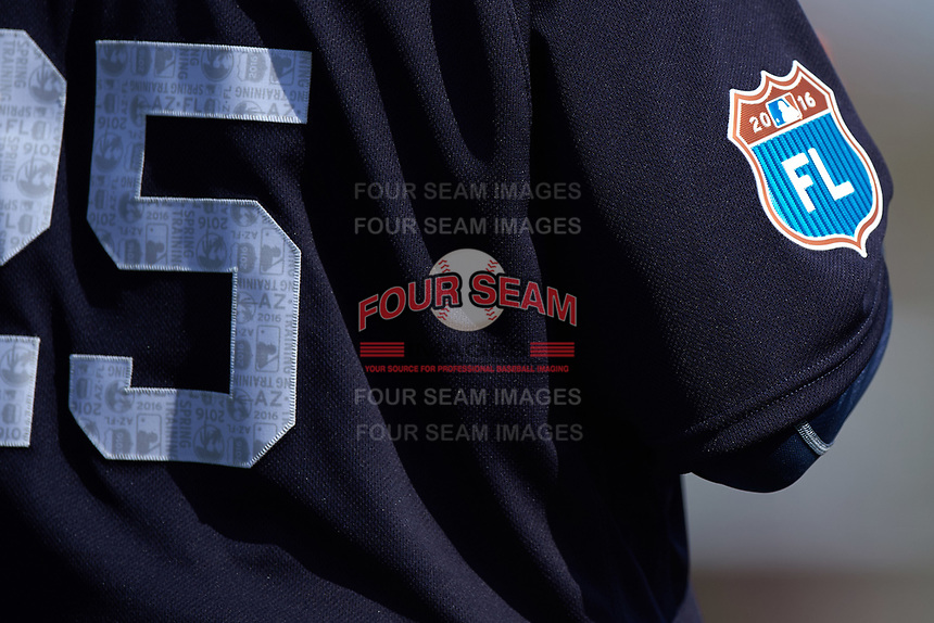 Florida Spring Training patch on the sleeve of Detroit Tigers third base coach Dave Clark (25) during an exhibition game against the Florida Southern Moccasins on February 29, 2016 at Joker Marchant Stadium in Lakeland, Florida.  Detroit defeated Florida Southern 7-2.  (Mike Janes/Four Seam Images)
