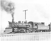 Fireman side view of D&amp;RGW #485 K-36 with plow on pilot.<br /> D&amp;RGW  Alamosa, CO  Taken by Payne, Andy M.