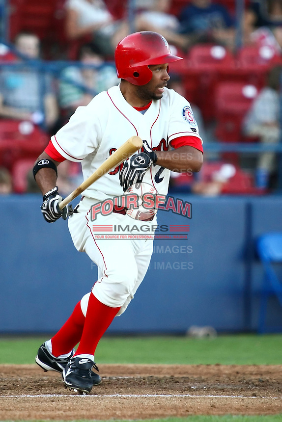 July 24 2008:  Jared Bolden of the Spokane Indians, Short Season Class-A affiliate of the Texas Rangers, during a game at Home of the Avista Stadium in Spokane, WA.  Photo by:  Matthew Sauk/Four Seam Images