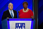 Co-Chairs of the Credentials Committee James Roosevelt, Jr., left, and Lorraine Miller, right, make remarks at the 2016 Democratic National Convention at the Wells Fargo Center in Philadelphia, Pennsylvania on Monday, July 25, 2016.<br /> Credit: Ron Sachs / CNP<br /> (RESTRICTION: NO New York or New Jersey Newspapers or newspapers within a 75 mile radius of New York City)