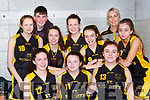 The  St Brigids team that played Ballybunion Wildcats in the u16 Div 3 final at the KABB finals in Killarney on Saturday front row l-r: Emma Buckley, Danielle Moriarty, Maggie O'Callaghan. Back row; Hilary O'Connor, Aaron Fleming coach, Mia Key, Fiona Brosnan, Caragh Fleming, Elaine Mitchell Coach, Caithlin Twomey,