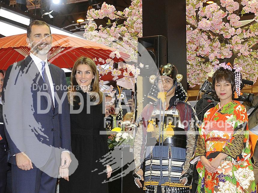 30/01/2013. Madrid. Spain. Ifema. Princes of Asturias Felipe de Borbon and Letizia Ortiz open the FITUR FAIR( international tourist Fair).