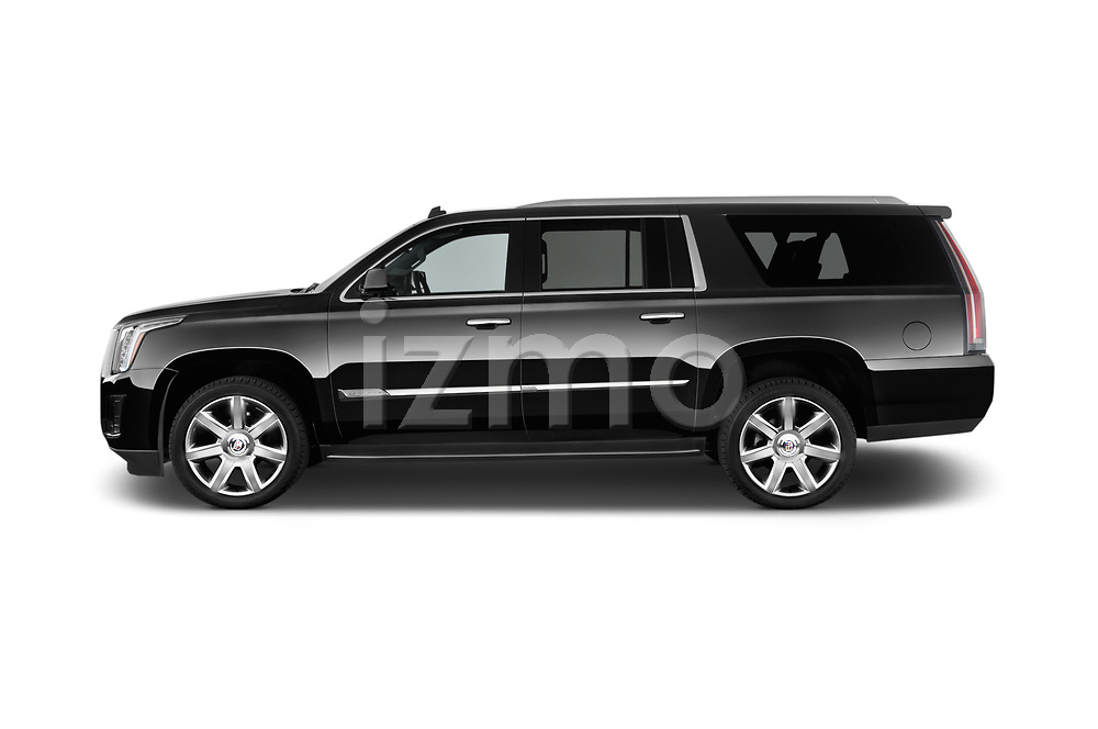 Car Driver side profile view of a 2015 Cadillac Escalade ESV 2WD Luxury 5 Door SUV Side View