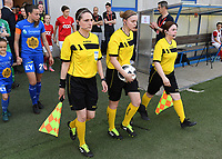 20190422 - Denderleeuw , BELGIUM : referees pictured with Maria Etienne , Viki De Cremer and Ilka Bosmans (r)  during the final of Belgian cup 2019 , a soccer women game between AA Gent Ladies and Standard Femina de Liege  , in the  Van Roystadion in Denderleeuw , Monday 22 th April 2019 . PHOTO SPORTPIX.BE | DAVID CATRY