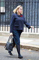 LONDON, UNITED KINGDOM - NOVEMBER 06: Secretary of State for International Development and Minister for Women and Equalities Penny Mordaunt leaves after a Cabinet meeting at 10 Downing Street in central London. November 06, 2018 in London, England.<br /> CAP/GOL<br /> &copy;GOL/Capital Pictures
