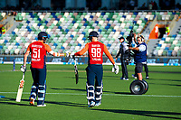 England's Jonny Bairstow and Tom Curran walk out for the 4th Twenty20 International cricket match between NZ Black Caps and England at McLean Park in Napier, New Zealand on Friday, 8 November 2019. Photo: Dave Lintott / lintottphoto.co.nz