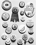 Pittsburgh PA:  Studio photography of AG Trimble's  Republican Political buttons - 1964. The AG Trimble company was an Advertising Specialties company located in the Jenkins Arcade building.
