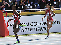 CALI - COLOMBIA - 19-07-2015: Candace Hill de Estados Unidos, en acción durante la prueba de los 200 metros en el estadio Pascual Guerrero sede, sede de IAAF Campeonatos Mundiales de la Juventud Cali 2015.  / Cadace Hill of United States, in action during the test of 200 meters in the Pascual Guerrero home of the IAAF World Youth Championships Cali 2015. Photos: VizzorImage / Luis Ramirez / Staff.
