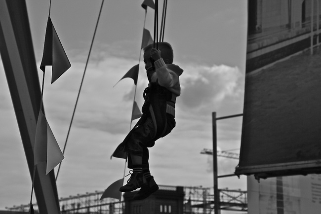 Boy on a swing in Berlin, Germany. Aug. 1, 2007.