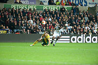 Thursday 24 October 2013  <br /> Pictured: Wilfried Bony of Swansea tries to get the ball forward<br /> Re:UEFA Europa League, Swansea City FC vs Kuban Krasnodar,  at the Liberty Staduim Swansea