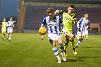 Sammie Szmodics of Colchester United latches onto an over the top ball and controls under pressure from Dara O'Shea of Exeter City during Colchester United vs Exeter City, Sky Bet EFL League 2 Football at the JobServe Community Stadium on 24th November 2018