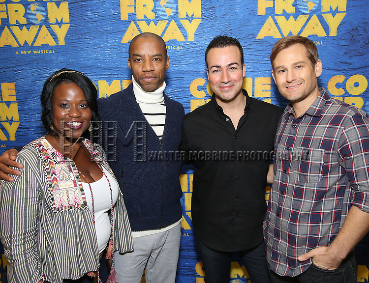 Q. Smith, Rodney Hicks, Caesar Samayoa and Chad Kimball attends the press day for Broadway's 'Come From Away' at Manhattan Movement and Arts Center on February 7, 2017 in New York City.