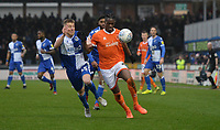 Blackpool's Armand Gnanduillet battles with Bristol Rovers' Alfie Kilgour<br /> <br /> Photographer Ian Cook/CameraSport<br /> <br /> The EFL Sky Bet League One - Bristol Rovers v Blackpool - Saturday 15th February 2020 - Memorial Stadium - Bristol<br /> <br /> World Copyright © 2020 CameraSport. All rights reserved. 43 Linden Ave. Countesthorpe. Leicester. England. LE8 5PG - Tel: +44 (0) 116 277 4147 - admin@camerasport.com - www.camerasport.com