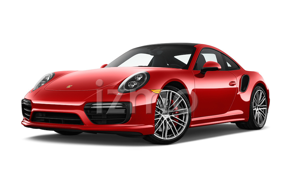 Stock pictures of low aggressive front three quarter view of 2017 Porsche 911 Turbo 2 Door Coupe Low Aggressive