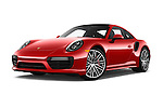 Stock pictures of low aggressive front three quarter view of 2018 Porsche 911 Turbo 2 Door Coupe Low Aggressive