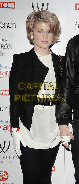 KELLY OSBOURNE .The Whiteleys Pop-Up Boutique Floor launch party, Whiteleys Shopping Centre, Queensway, London, England..March 25th, 2010.half length white top jacket black  gloves holding hands safety pins belt pink hair .CAP/CAN.©Can Nguyen/Capital Pictures.